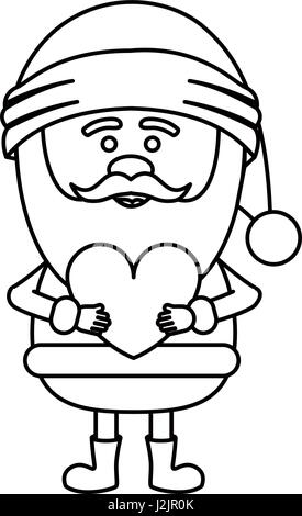 monochrome contour of santa claus with heart in hands - Stock Photo