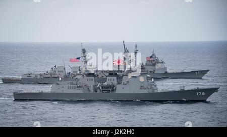 Philippine Sea. 28th April, 2017. The Japan Maritime Self-Defense Force Atago-class guided-missile destroyer JS - Stock Photo