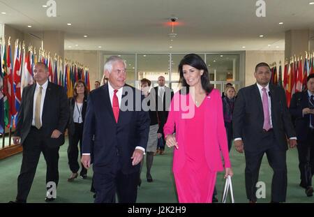 New York, USA. 28th Apr, 2017. U.S. Secretary of State Rex Tillerson walks with Ambassador Nikki Haley, U.S. Permanent - Stock Photo