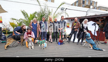 London, UK. 29th April 2017. Group photo of contestants at the Sci-Fido cosplay dog show at Sci-Fi London, at Juju's - Stock Photo