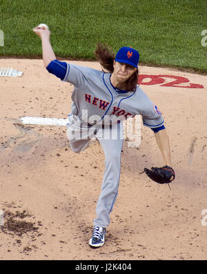 New York Mets starting pitcher Jacob deGrom (48) pitches in the first inning against the Washington Nationals at - Stock Photo