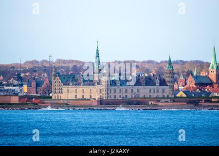 Kronborg castle in Helsingor, Denmark. Seen from the sea. - Stock Photo
