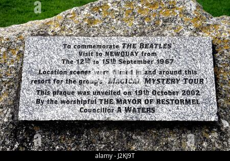 Newquay, Cornwall, UK - April 1 2017: Stone plaque commemorating the 1967 visit by The Beatles to film Magical Mystery - Stock Photo