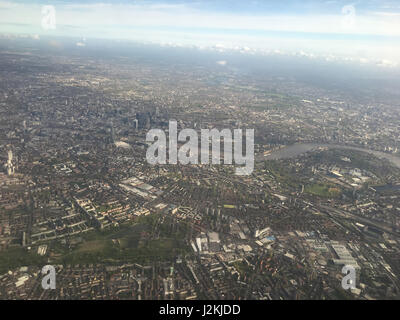 Aerial view over London with Thames river and Westminster. - Stock Photo