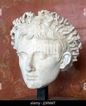 Marble head of the Emperor Augustus, (63 BC-14 AD), founder of the Roman Empire and its first Emperor, date c.27 - Stock Photo