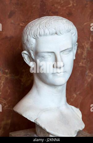 Caligula. Marble head of Emperor Gaius Julius Caesar Augustus Germanicus (AD 12-AD 41), c.39-40 AD - Stock Photo