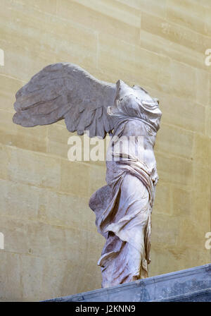 The Winged Victory of Samothrace or The Winged Nike, Louvre Museum, Paris, France. The sculpture of the Greek goddess, - Stock Photo