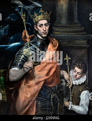 'St Louis, King of France, and a Page' by El Greco (Domenikos Theotokopoulos, 1541-1614), oil on canvas, c.1585 - Stock Photo