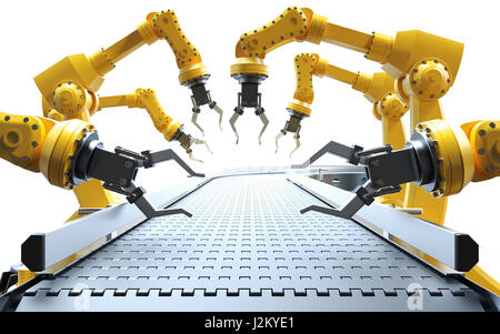Industrial robotic arms with empty conveyor on white background belt 3D rendering - Stock Photo