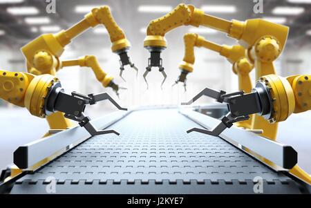 Industrial robotic arms with empty conveyor belt 3D rendering - Stock Photo