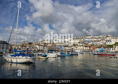 View across Brixham Harbour and Marina,  in South Devon, UK - Stock Photo