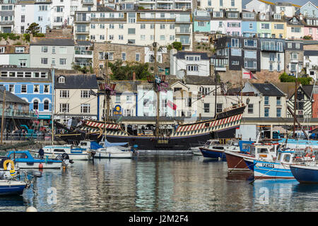 The Golden Hind moored at Brixham Harbour, South Devon, UK. - Stock Photo