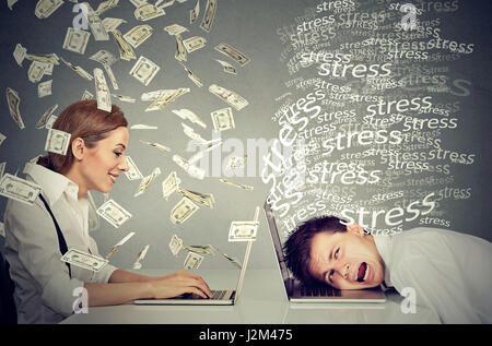 Employee compensation economy. Successful woman under cash rain working on laptop making money sitting next to stressed - Stock Photo