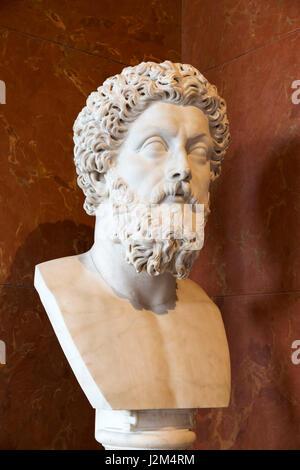 Marble head of Roman Emperor Marcus Aurelius (AD 121 - AD 180) c.180-183 AD - Stock Photo