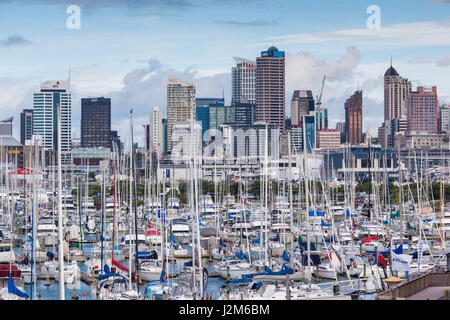 New Zealand, North Island, Auckland, skyline from Westhaven Marina - Stock Photo