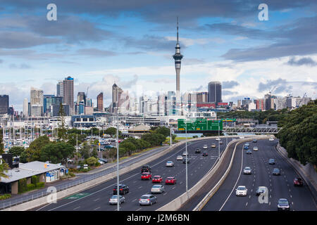 New Zealand, North Island, Auckland, skyline from Northern Motorway - Stock Photo