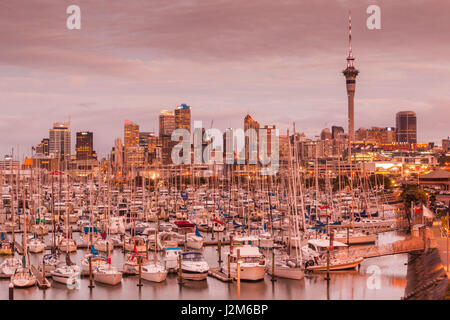 New Zealand, North Island, Auckland, skyline from Westhaven Marina, dusk - Stock Photo