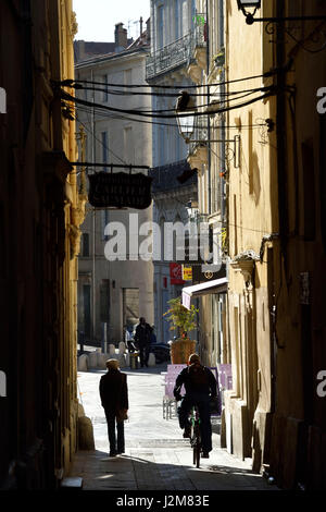 France, Herault, Montpellier, historical center, rue du Cygne - Stock Photo