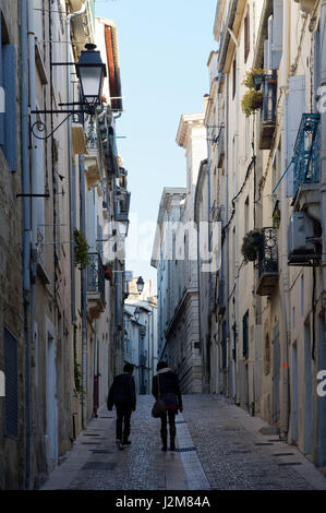 France, Herault, Montpellier, historical center, rue du Refuge - Stock Photo