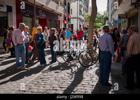 Spain, Canary Islands, Lanzarote, Arecife, townspeople - Stock Photo