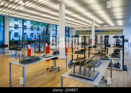 Germany, Nordrhein-Westfalen, Bonn, Arithmeum, museum of technology, science and art, interior with adding machines - Stock Photo
