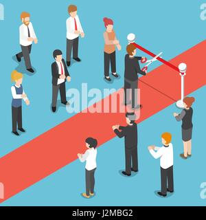 Flat 3d isometric businessman cutting red ribbon at grand opening event. - Stock Photo