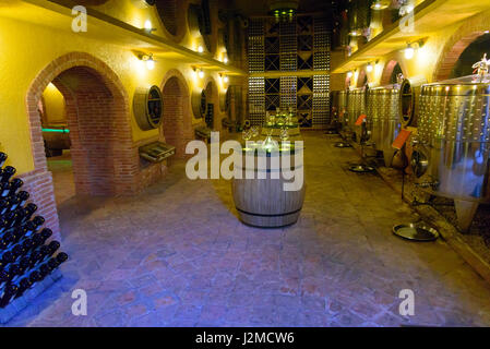 Tbilisi, Georgia - September 27, 2016: Wine shop with Georgian wine from barrel - Stock Photo