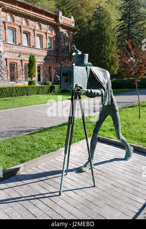 Borjomi, Georgia - October 02, 2016: Statue of photographer Mineral water park - Stock Photo