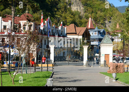 Borjomi, Georgia - October 02, 2016: Entrance to Mineral water park - Stock Photo