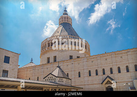 Basilica of the Annunciation, a Roman Catholic church in Nazareth, Israel - Stock Photo