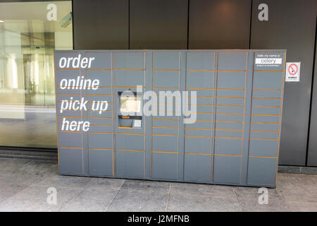 amazon order online pick up lockers in a morrisons store stock photo royalty free image. Black Bedroom Furniture Sets. Home Design Ideas