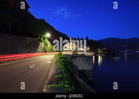 Lago di Como at night - Stock Photo