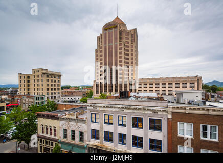 View of buildings in downtown Roanoke, Virginia. - Stock Photo