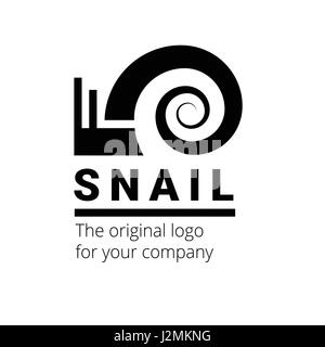 Snail is a creative black logo symbol suitable for industrial organization. Unusual and beautiful vector sign - Stock Photo