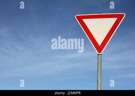 German road sign: give way - Stock Photo