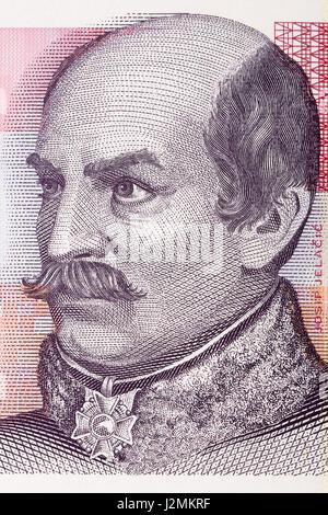 Count Josip Jelacic von Buzim portrait from Croatian money - Stock Photo