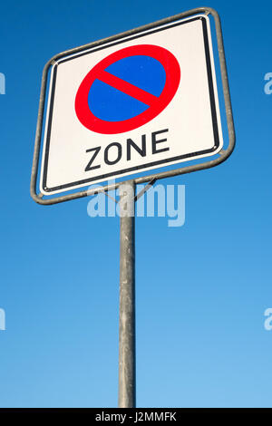 German road sign: no parking zone - Stock Photo