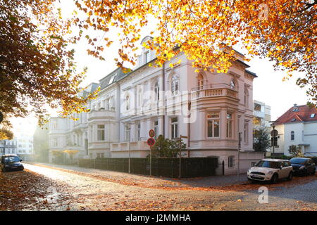 Houses in Classic Style,  colored Trees in Autumn, Oldenburg in Oldenburg, Germany  I Klassizistische Wohnhaeuser, - Stock Photo