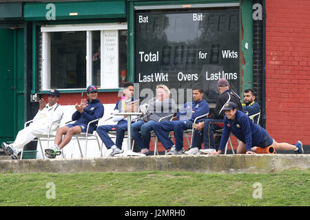 Wanstead players look on during Ardleigh Green CC vs Wanstead and Snaresbrook CC, Shepherd Neame Essex League Cricket - Stock Photo