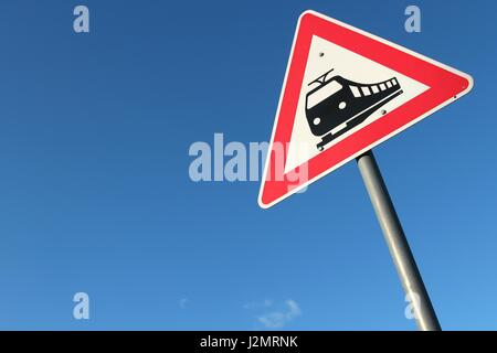 German road sign: level crossing - Stock Photo