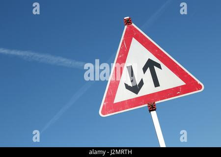 German road sign: two way traffic ahead - Stock Photo