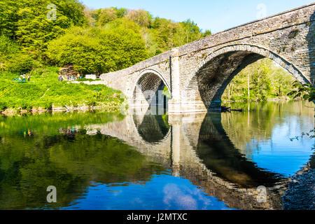 London, United Kingdom - April 23, 2017: Dingham Bridge across the River Teme - Stock Photo