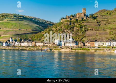 Maus Castle (Burg Maus) above the village of Wellmich, Sankt Goarshausen, Rhine Valley, Rhineland-Palatinate, Germany. - Stock Photo