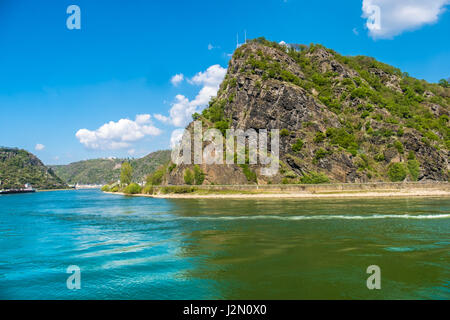 The Lorelei (Loreley) a steep slate rock on the right bank of the River Rhine in the Rhine Gorge (or Middle Rhine) - Stock Photo