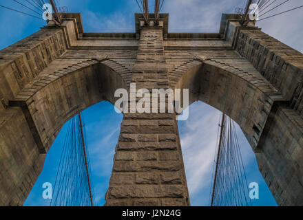 One of the towers of Brooklyn Bridge, New York City - Stock Photo