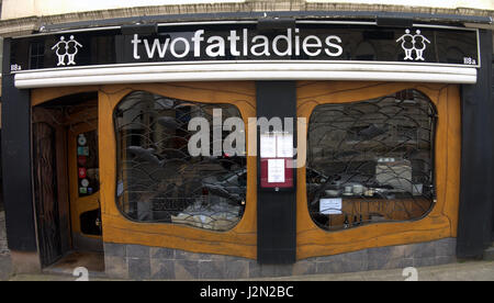Two Fat Ladies restaurant Glasgow - Stock Photo