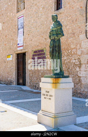 Fray Luis de Leon statue outside Archivo Histórico Provincial, originally a castle and once used as a prison, Cuenca, - Stock Photo