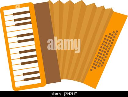 Accordion icon flat, cartoon style. Musical instrument isolated on white background. Vector illustration, clip-art. - Stock Photo