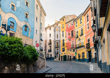 Evening light descends on the colourful houses of Calle Mosen Diego de Valera and Alfonso VIII street, Cuenca, Castilla - Stock Photo