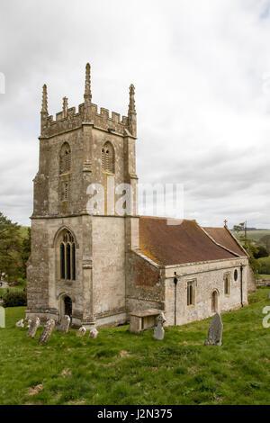 St. Giles Church in Imber Village, Salisbury Plain, Wiltshire, England - Stock Photo